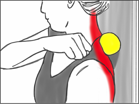 Soft Tissue Therapy - Balling the Trapezius and Neck against a wall