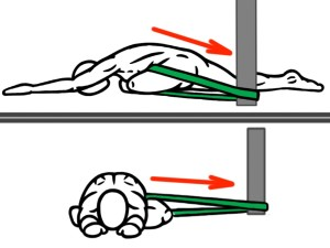 Joint Distraction - Pigeon Stretch (Front and Side View) for Hip Flexion - Hip Abduction and External Rotation