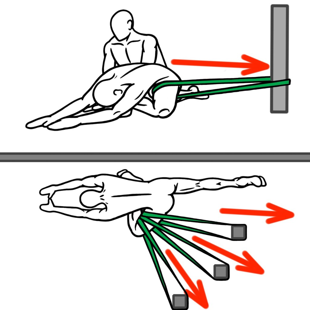 Joint Distraction - Pigeon Stretch (Top View and Three-Quarters View) for Hip Flexion - Hip Abduction and External Rotation