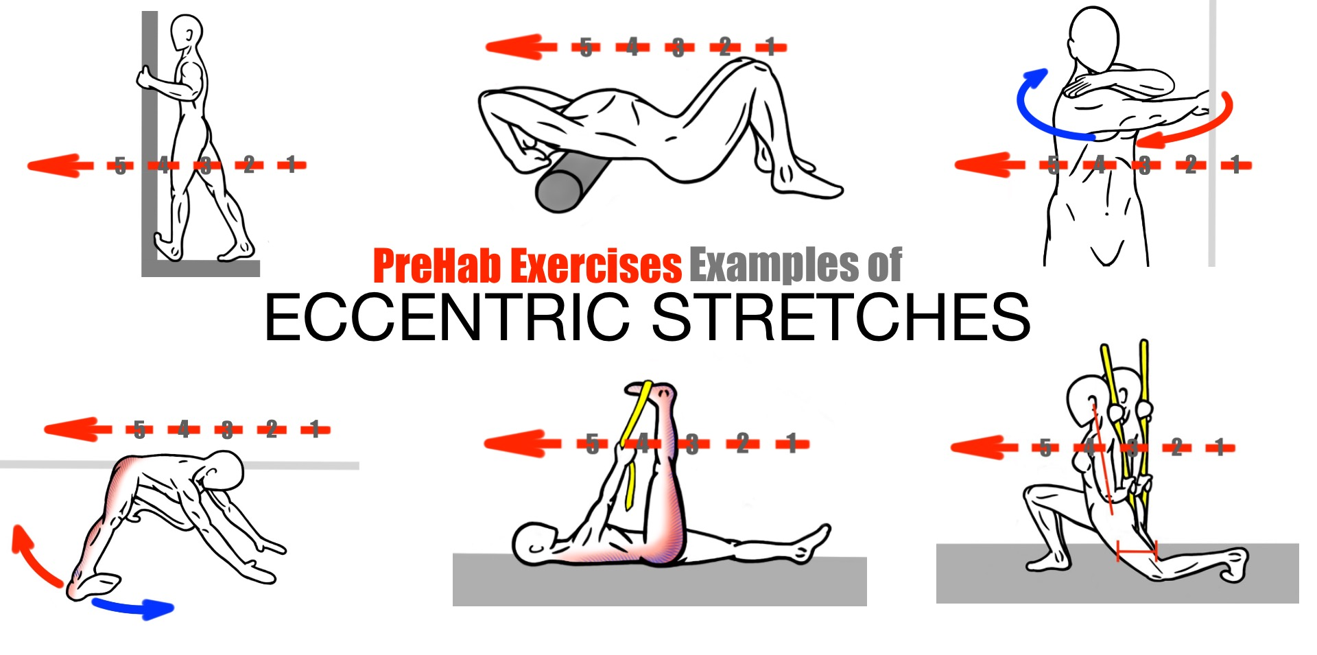 PreHab Exercises - Examples of Eccentric Stretching - Eccentric Stretches for Improved Mobility