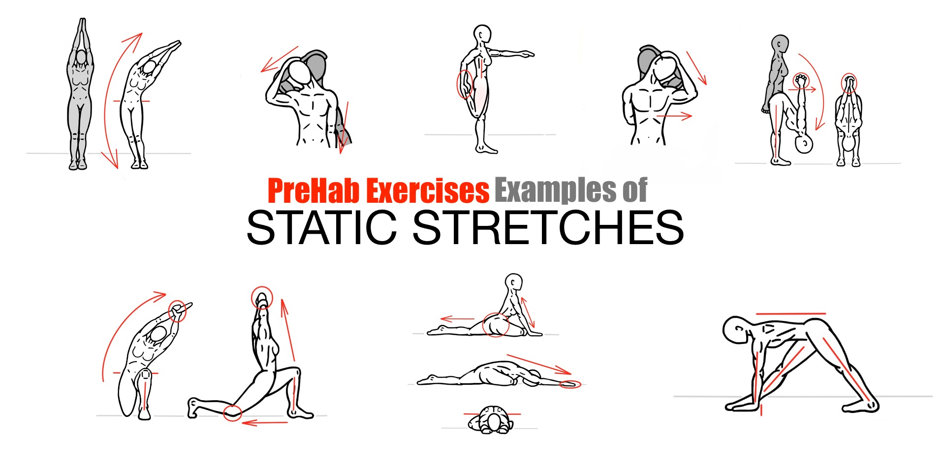 PreHab Exercises - Examples of Static Stretching - Static Stretches for Improved Mobility