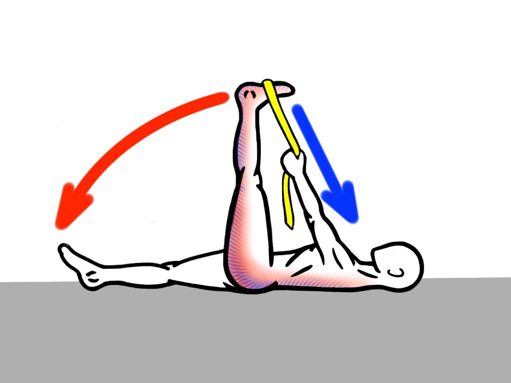 Stretching - PNF Stretch - Contract:Relax - Supine Leg Lift with Strap for the Posterior Chain